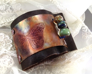 Copper cuff leather embossed